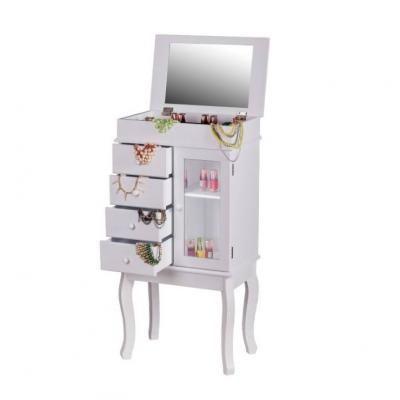 Fiókos ékszertartó szekrény tükörrel, fehér - TROUVAILLE